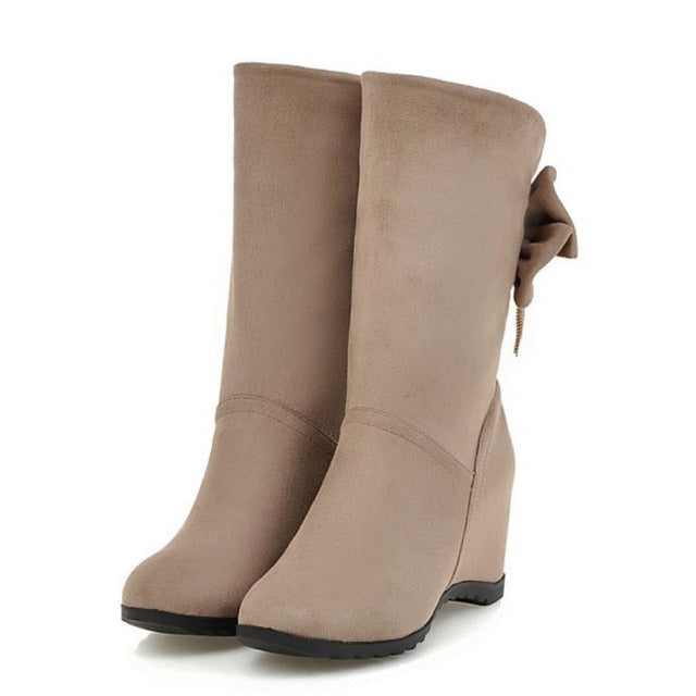 Women Round Toe Mid Calf Boots Woman Sexy Wedge High Heels Shoes Ladies Fashion Sweet Bowknot Botines Mujer Size 32-43