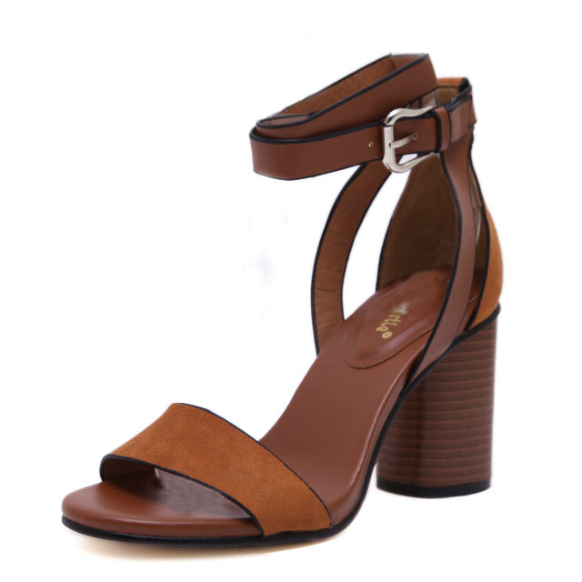 New Retro Women Sandals.  Block Square Heels Buckle Strap. Leisure Sexy Sandals Shoes Woman Ankle Strap