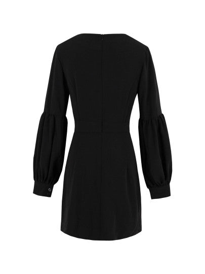 Black V Neck Women's Lantern Sleeve Dress