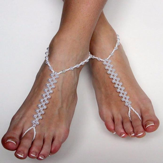 Imitation Pearl Barefoot Beach Anklets.  Sandals.  Anklet Foot Chain Jewelry