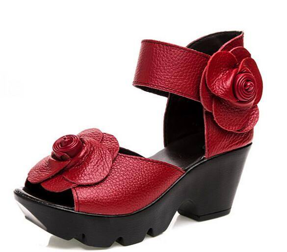 New Leather, Summer Flower Woman Sandals Platform Thick Heels/Genuine Leather.  Sizes 5 - 9