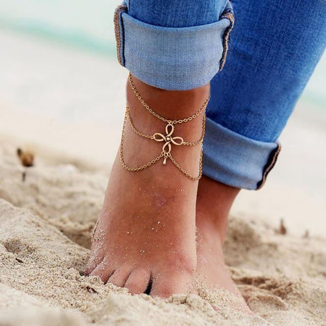 Women Beach Barefoot Sandal.  Foot Tassel Jewelry Anklet Chain GD