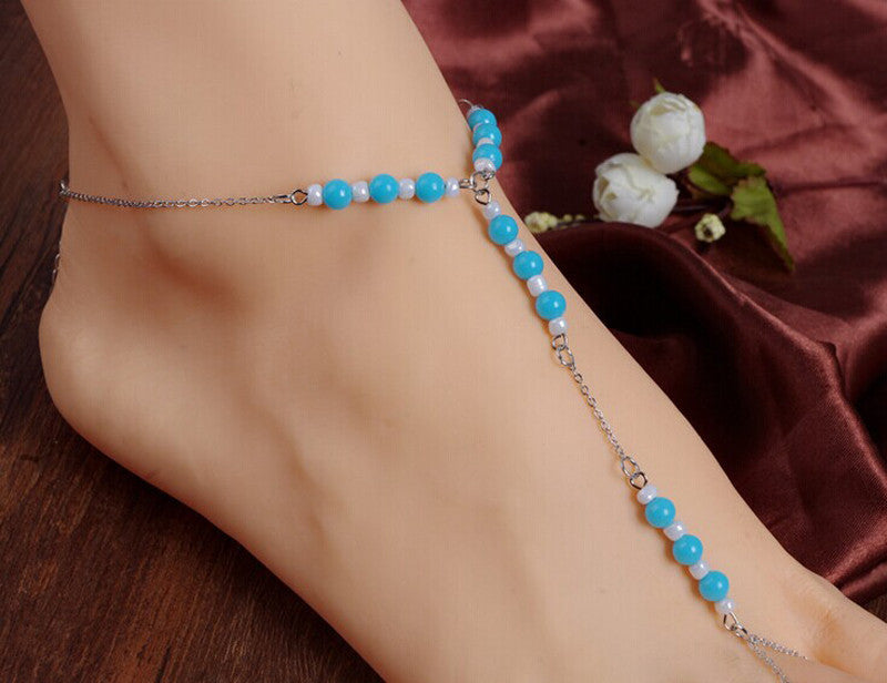 Womens Beach Barefoot Sandal. Foot Beaded Bead Jewelry Anklet Ankle Chain