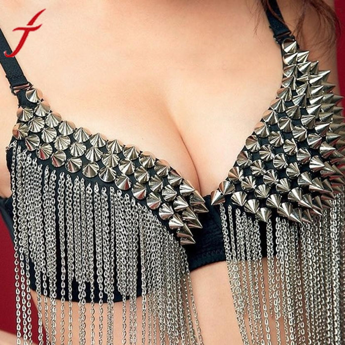 Sexy Bras Women Party All-over Spike Rivet Tassels Metallic Punk Bra