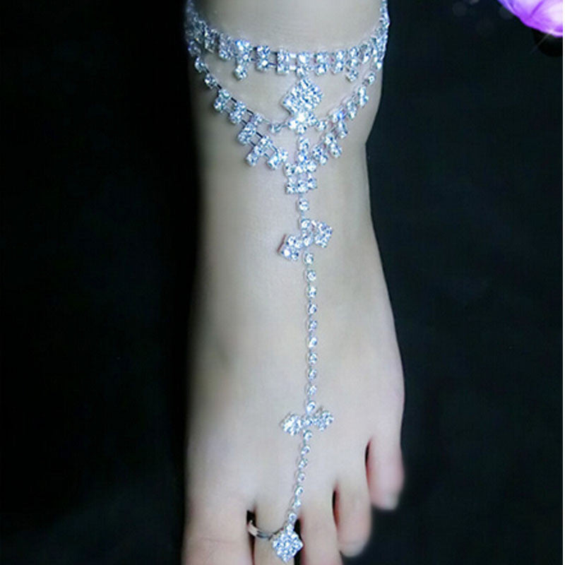 Women Barefoot Sandals. Beach Foot Jewelry Wedding Ankle Chain Anklet