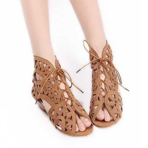 Hollow Out Women Gladiator Sandals.  Vintage Lace Up Low Heel Wedges Summer Shoes For Woman Open Toe Zipper.