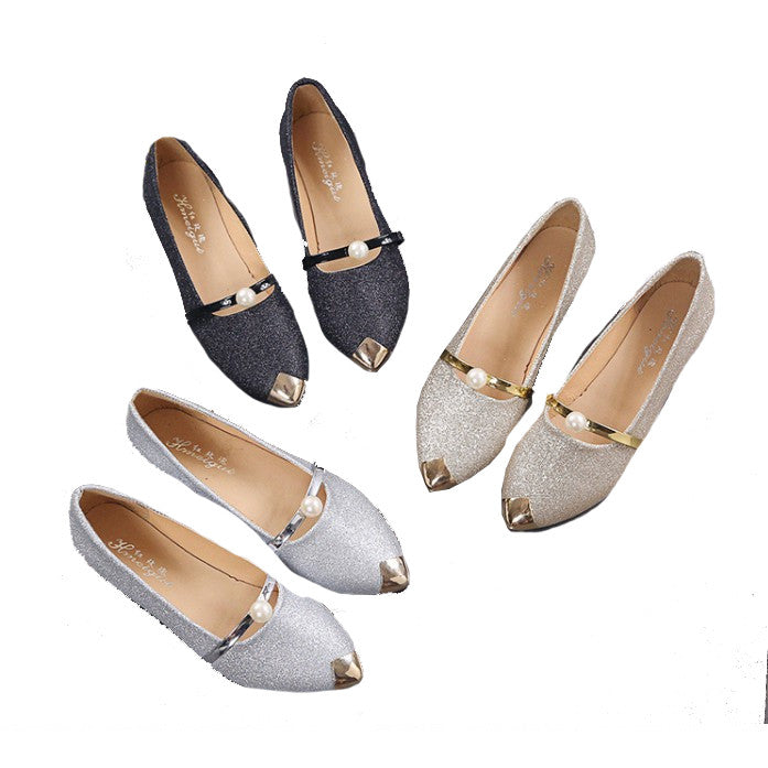 Spring autumn pointy flat-bottomed shoes soft end comfort bean shoes