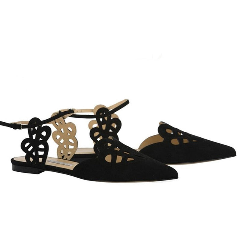 New Summer Women Flats.   Female Hollow Pointed Toe Shoes.  Sandals.  Fashion.
