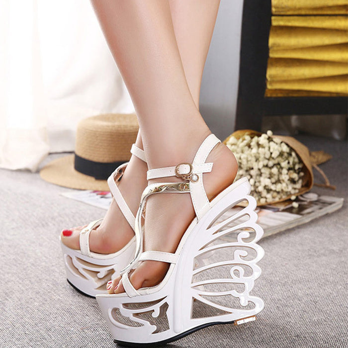 Female 14cm Heels.  Retro Wedge Sandals. Sexy High-heeled Shoes.