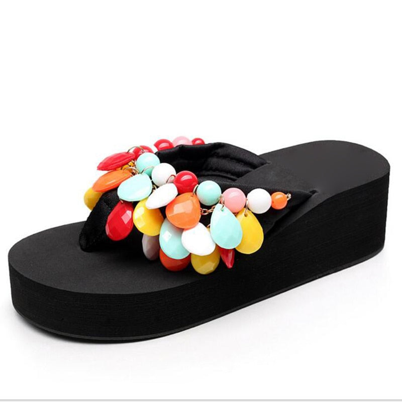 Woman String Bead Slippers.  Wedges,  Flip Flops,  Summer Colorful  Shoes. Light Beach Slides Women's /Girl's Footwear