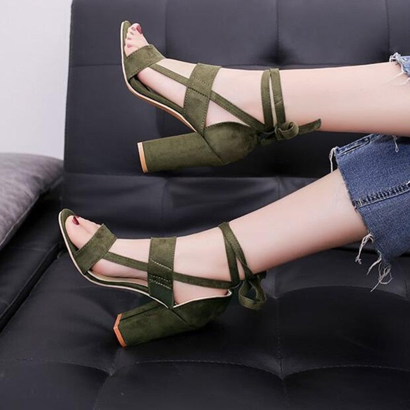 Thick Heel Sandals/ Cross-tied Ankle Lace up