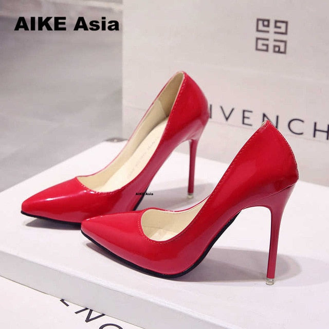 Fashion high heels. Women pumps, thin heel classic.