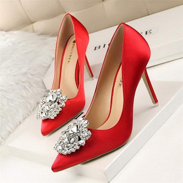Women Bridal Wedding Shoes.  Faux Silk Satin /Rhinestone /Crystal