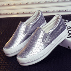 Platform Sneakers.  Woman Silver Glitter Creepers Slip On Casual Rubber Spring Women Flats Shoes Size 5-9