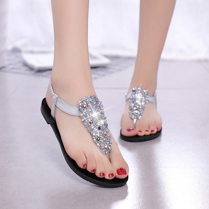 Women Fashion Bohemia Crystal.  Round Toe,  Flat Heel Sandals,  Beach Shoes