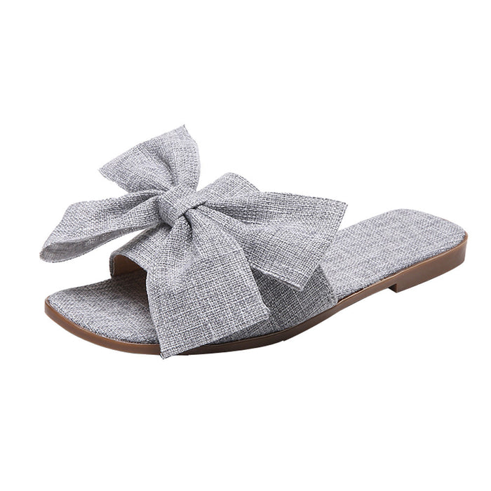 Women Fashion Cloth Bow Flat/ Heel -Square Toe /Sandals Slipper Beach Shoes