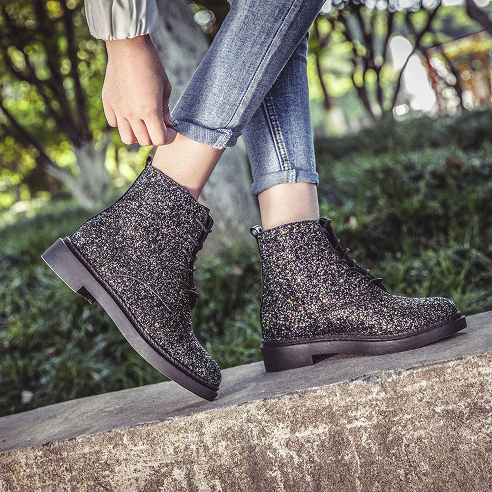 Women Ankle Boots.  Shiny Ladies Boots.  Casual Shoes