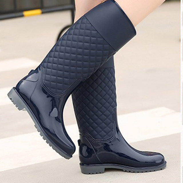 Women Rubber Water Boots.   Medium Heel.   Woman Rainboots,  Slip-on Fashion,  Rainning Shoes For Ladies