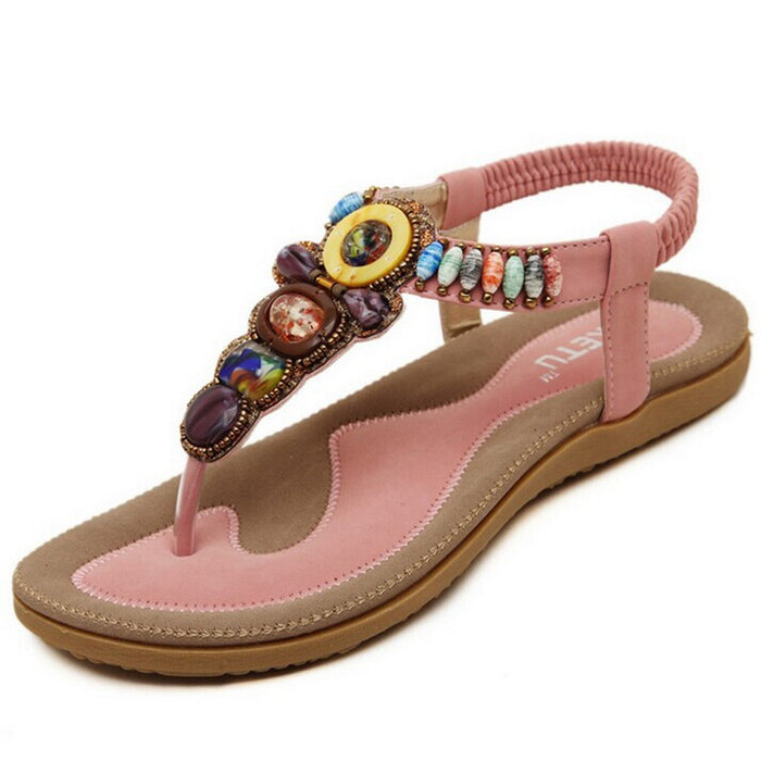 Bohemian Women Sandals/ Gemstone/ Beaded /Summer Beach Sandals /Women Flip Flops Ladies Flat Sandals Shoes