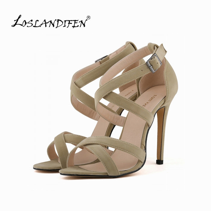 New Fashion Women Shoes Pumps Faux Velvet Open Toe Ankle Straps High Heels Shoes Summer Lady Bridal shoes