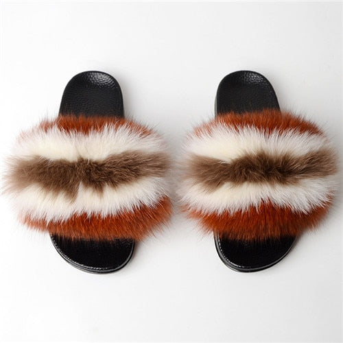 Women Fox Fur Slippers,  Real  Fur Slippers/ Luxury Real Fox Fur Beach Sandal Fluffy Comfy Furry Flip Flops