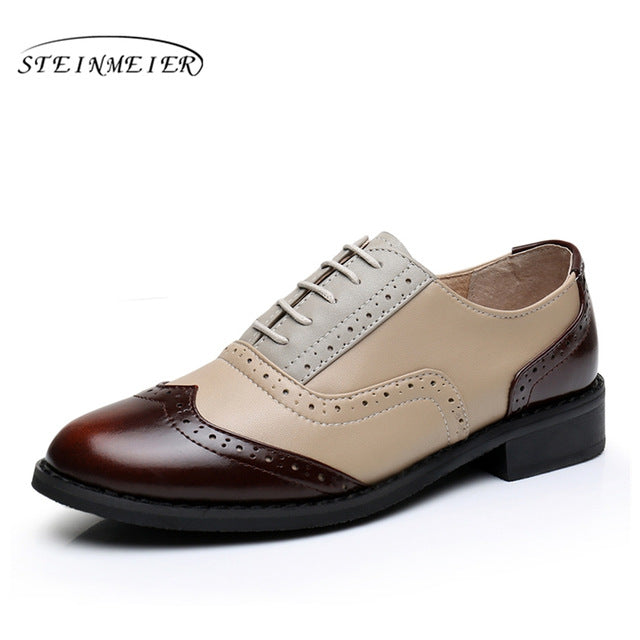 Women oxford Flat spring shoes for woman/ genuine leather flats /summer brogues /vintage laces loafers