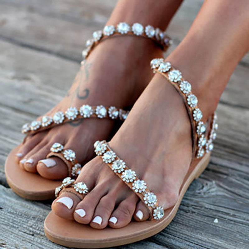 Women Sandals Bling Crystal Summer Shoes / Woman Beach Flat Sandals /Plus Size  / Ladies Soft Bottom Slippers