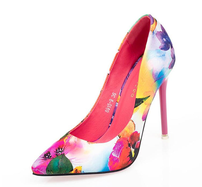 Women Pumps High Heels /Colorful Ladies Floral Printing/ Shallow Slip On Pointed Toe / Wedding Shoe