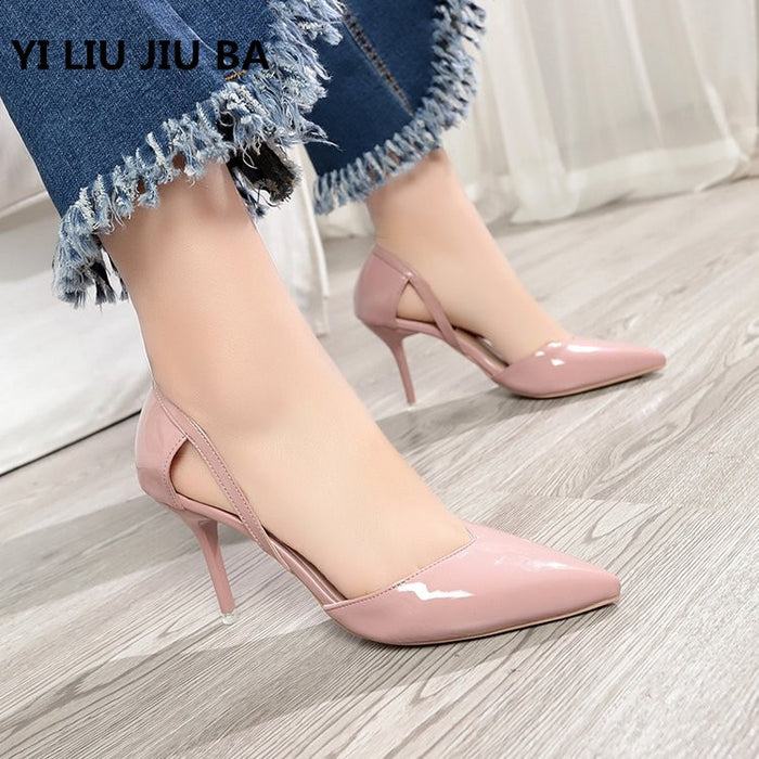 2019 HOT sale fashion Women Shoes Pointed Toe Pumps PU Leather Dress High Heels Shoes Wedding Shoes women