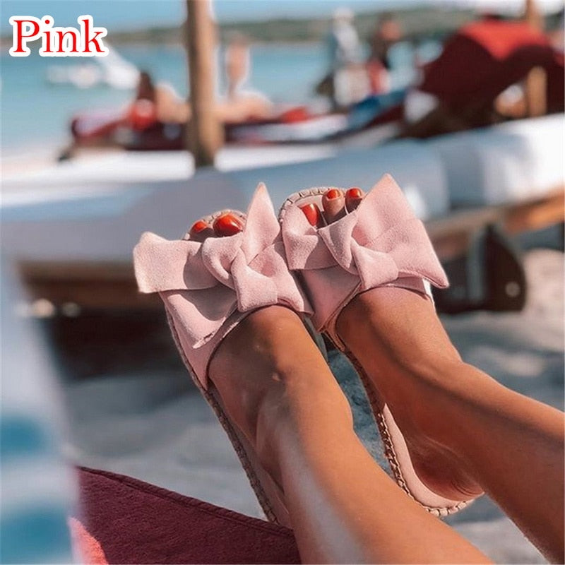 Women Slippers/ Summer Bow/ Summer Sandals/ Slipper Indoor - Outdoor/ Flip-flops/ Beach Shoes /Female Fashion Shoes 2019