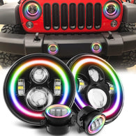 Jeep Wrangler RGB Halo Headlight and CREE LED Fog Lights Combo | Color Changing Kit with Chasing Angel Eye Ring for JK JKU 2007-2018