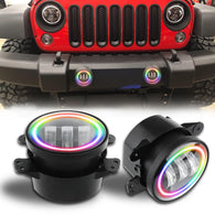 "4"" Cree RGB Halo Rotating LED Fog Lights for 2007-2018 Jeep Wrangler JK"