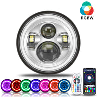 New Arrivals 7 inch RGB-W LED Headlights With Halo Angel Eye For Harley-Davidson