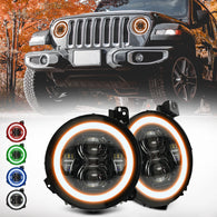 "9"" RGB-W Halo LED Headlights for Jeep Wrangler JL & JT Gladiator"""