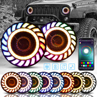 "7"" RGB 3D LED Lens Halo Rotating Headlights For 1997-2018 Jeep Wrangler JK JKU TJ CJ LJ"