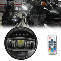 5-3/4 5.75 Stars Flag Color Changing LED Headlight for Harley Dyna Street Bob Super Wide Glide Low Rider Night Rod Train Softail Deuce Sportster Iron 883