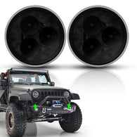Full Width Front Bumper for 07-18 Jeep Wrangler JK JKU with Rock Crawler Built-in Winch Plate and Fog Light Housing (Black Textured) …