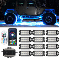 Sunpie 12 Pod RGB-W LED Rock Lights Kits for Off Road Truck ATV SUV Under Wheel 4X4