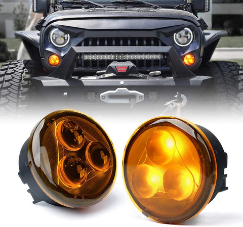 Amber/Smoke LED Front Turn Signal Lights for 2007-2018 Jeep Wrangler JK Turn Lamp Fender Side Maker Parking Lights