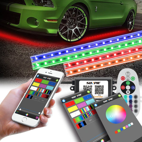 Multi-color RGB LED strip neon lights kit with APP & remote control for cars