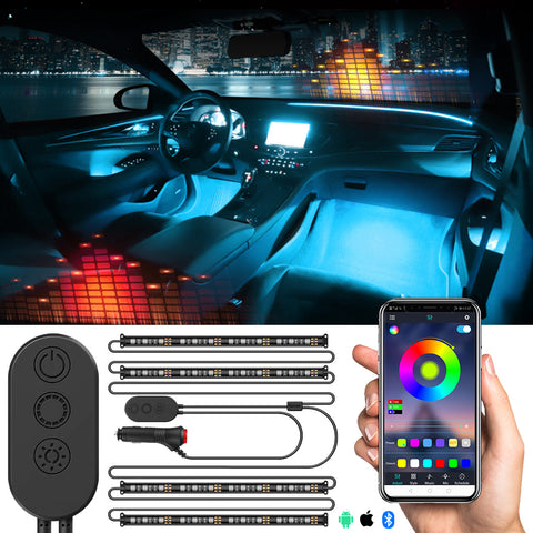 Car Interior & Strips Lights with App and Remote Control Waterproof LED Atmosphere Car Lights Come with 48 LED Chip 8.8ft Length Indoor Lights