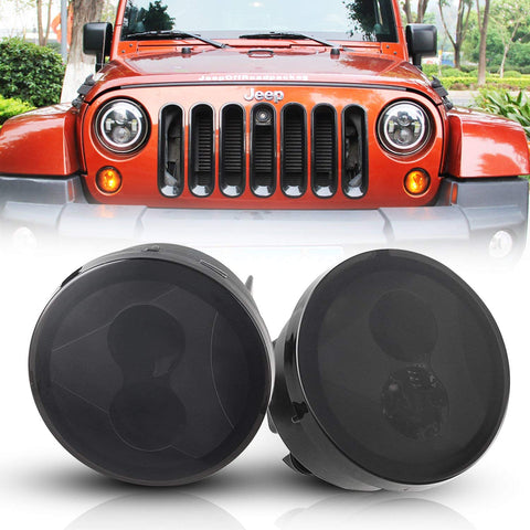 Smoked Front LED Turn Signal Lights for 07-18 Jeep Wrangler JK JKU (Pair)