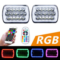 RGB Halo Rectangle 5x7 Headlights for Jeep YJ XJ GMC Ford Truck Van