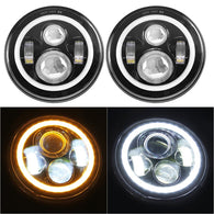 "Sunpie 7"" LED Headlight with Halo Angel Eye Ring & DRL & Turn Signal Lights - Sunpie"