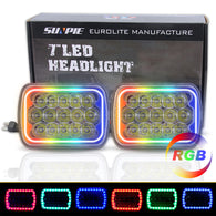 Sequential RGB Halo 5x7 LED Headlights for Jeep YJ XJ GMC Ford Truck