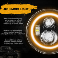 1pc 7 Inch LED Halo Headlights with Turn Signal Amber DRL White for Jeep Wrangler 1997-2017 JK JKU TJ LJ Rubicon Sahara Unlimited White DRL/Amber