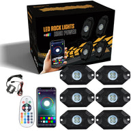 Sunpie 6 Pods RGB-W LED Rock Lights Multicolor Underglow Neon Light Kit with Bluetooth Controller, Music Mode