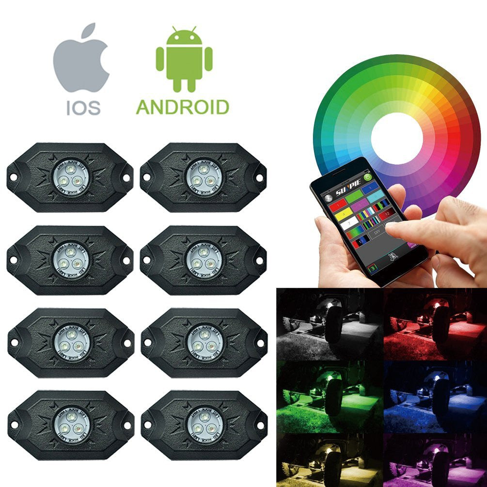 Rgb Underglow Led Rock Lights Bluetooth Multicolor Neon