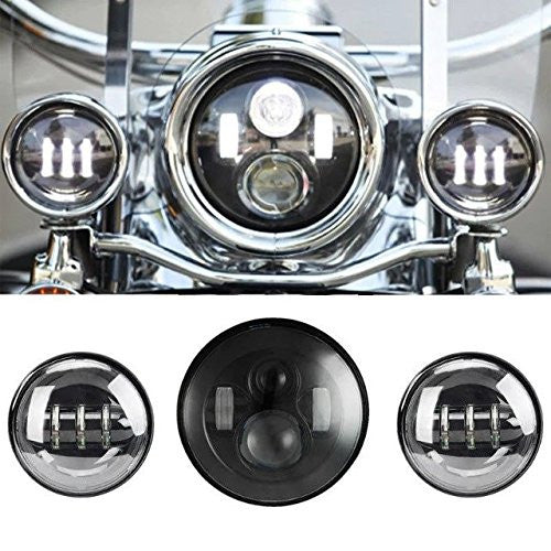 Black Led Projector Daymaker Headlight With Auxiliary