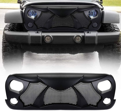 Matte Black Front Gladiator Angry Bird Grille Grid Grill Mesh for 2007-2018 Jeep Wrangler JK JKU Accessories & Unlimited